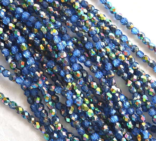 Lot of 50 3mm Sapphire Blue Vitral Czech glass beads, firepolished faceted round beads C8450 - Glorious Glass Beads