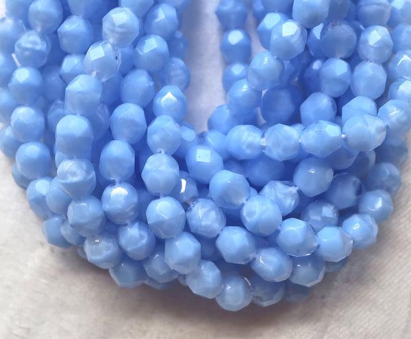 Lot of 25 6mm Czech glass beads, marbled opaque and transparent light coral blue firepolished faceted round beads C7425