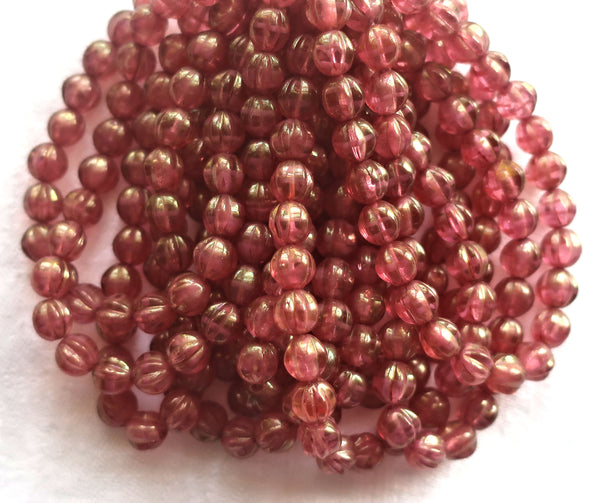 Lot of 25 Czech pink glass melon beads, 6mm transparent pink with gold luster pressed Czech glass beads C0901