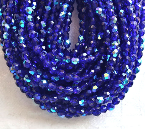 Lot of 50 4mm Czech glass beads, Cobalt Blue AB, firepolished, faceted, round beads C8550