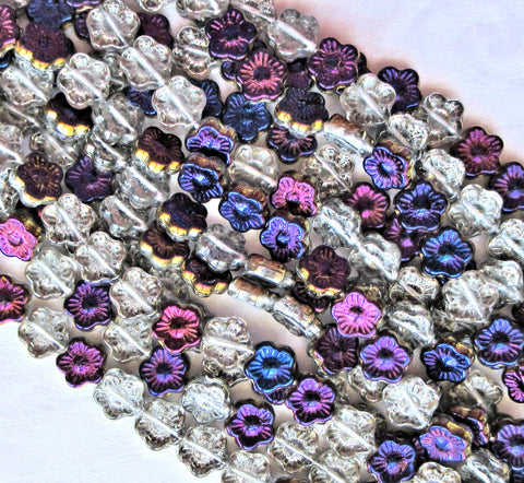 Lot of 25 10mm Crystal Purple Iris Czech glass flower beads - pressed glass multicolor flower beads, C3601