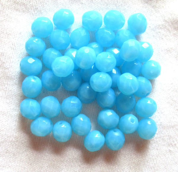 Lot of 25 8mm Powder Blue Opal opaque faceted round firepolished glass beads, C7825