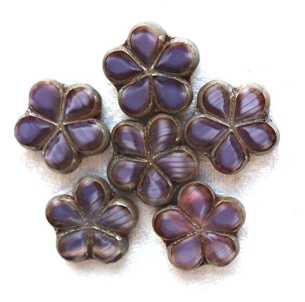 Lot of five 17mm table cut, carved, marbled opaque amethyst, purple Czech glass Flower beads with a metallic sliver picasso finish 53105 - Glorious Glass Beads