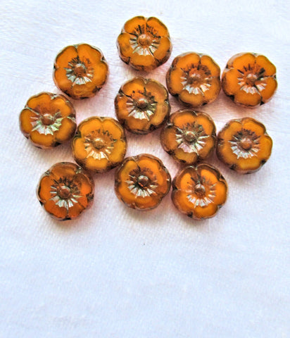 Lot of 12 9mm Czech glass flower beads - translucent pumpkin orange picasso - table cut carved hibiscus Hawaiian floral beads - 06125 - Glorious Glass Beads