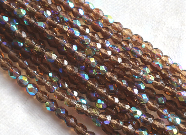 50 4mm Smoky Topaz Ab Czech glass beads, firepolished faceted, brown, round glass beads C8550 - Glorious Glass Beads
