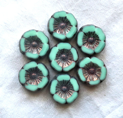 12 Czech glass flower beads, table cut, carved, opaque mint green with a metallic picasso finish,12mm Hawaiian Hibiscus floral beads C05201 - Glorious Glass Beads