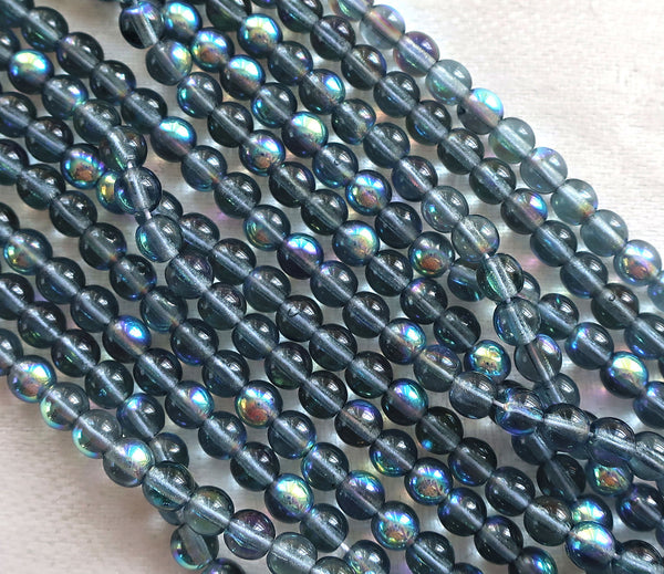 Lot of 100 4mm Montana Blue AB Czech glass druks, smooth round pressed glass druk beads C7601