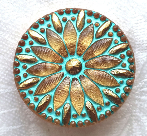 One Czech glass button , 30mm gold flower button with gold accents and a turquoise wash. golden decorative floral shank buttons C03301