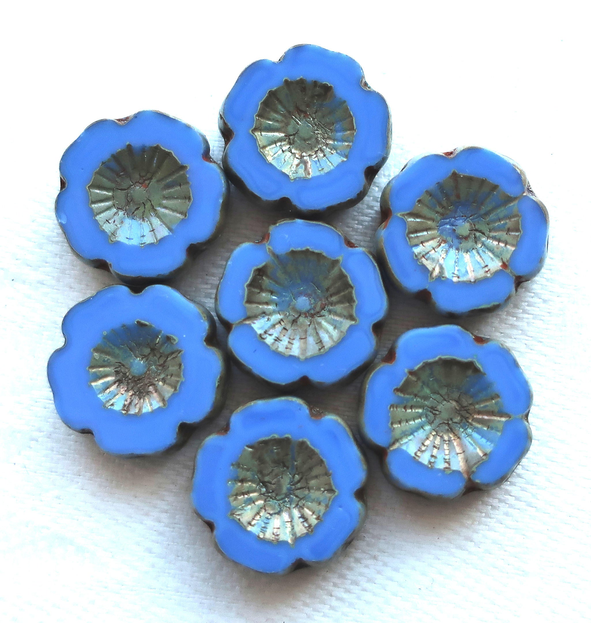 Six czech glass flower beads 14mm table cut carved opaque ocean six czech glass flower beads 14mm table cut carved opaque ocean blue hawaiian izmirmasajfo