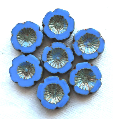 Six Czech glass flower beads; 14mm table cut, carved, opaque ocean blue Hawaiian flower beads with a picasso finish C6906
