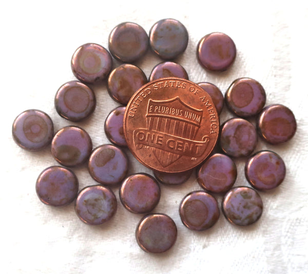 Lot of 25 8mm Czech glass flat round beads, opaque dark lavender, purple luster coin or disc beads 14102