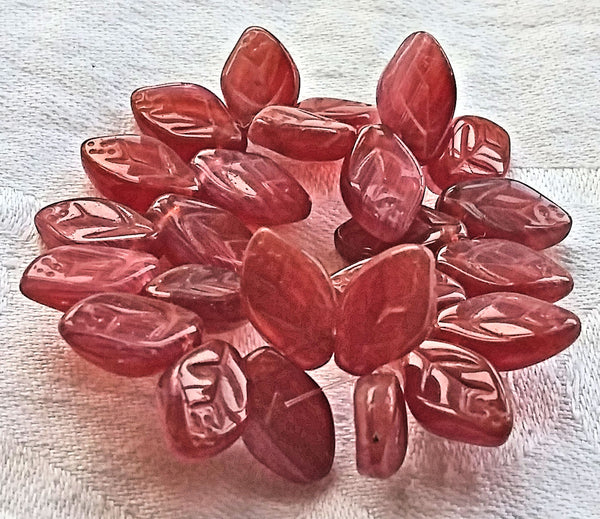 Lot of 25 Czech glass leaf beads -translucent pink carnelian mix - 12 x 8mm side drilled beads C72101