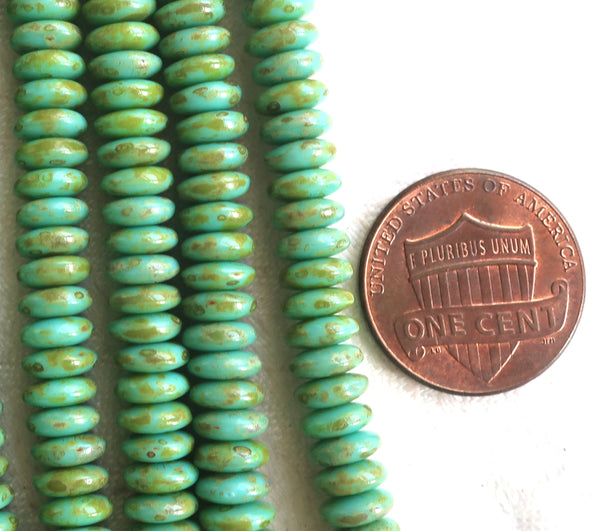 Lot of 50 6mm Czech glass rondelle beads, opaque turquoise picasso blue flat spacers or rondelles C02101
