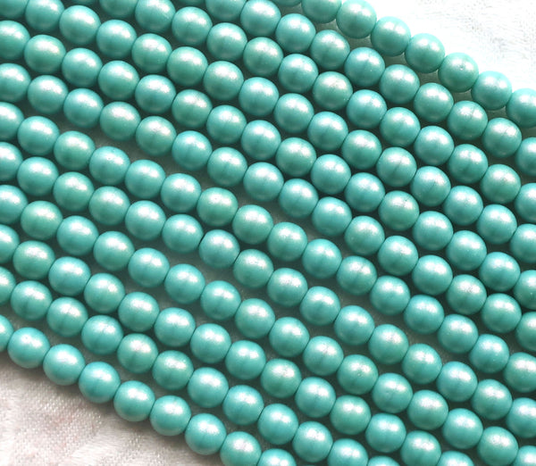 Lot of 50 6mm Czech glass beads, Opaque Cosmic Twinkle Turquoise blue luster smooth round druk beads 22150