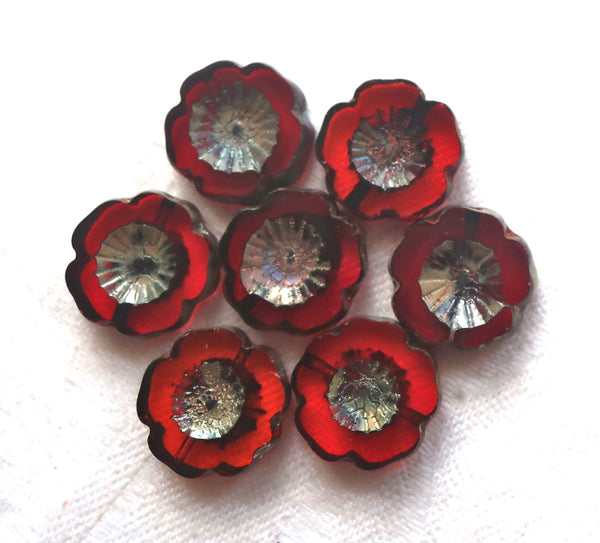 Six 14mm Czech glass flower beads, table cut, carved, transparent bright red / orange Hawaiian flower beads with a picasso finish C80101