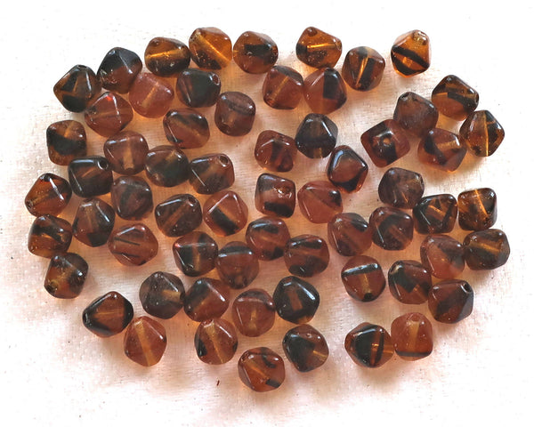 50 6mm Tortoiseshell Brown bicones, pressed Czech glass bicone beads, C6750 - Glorious Glass Beads