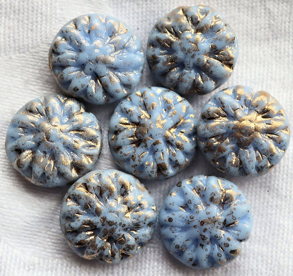 Five Czech glass Dahlia flower beads, Opaque Sky Blue with gold spatter - 14mm floral disc or coin beads C0905 - Glorious Glass Beads