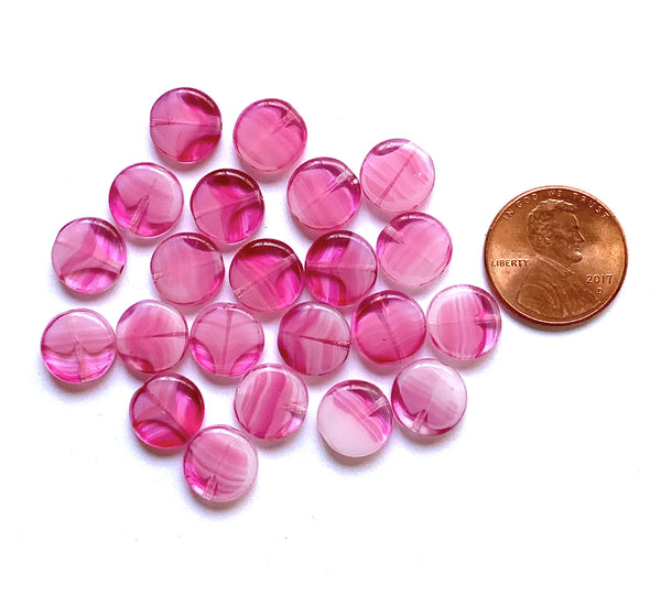 15 Czech glass coin beads - 10mm pink marbled, milky, striped disc beads C0057