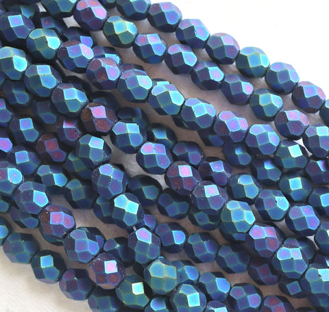 Lot of 25 6mm Matte Blue Iris Czech glass beads, firepolished, faceted round beads C1501