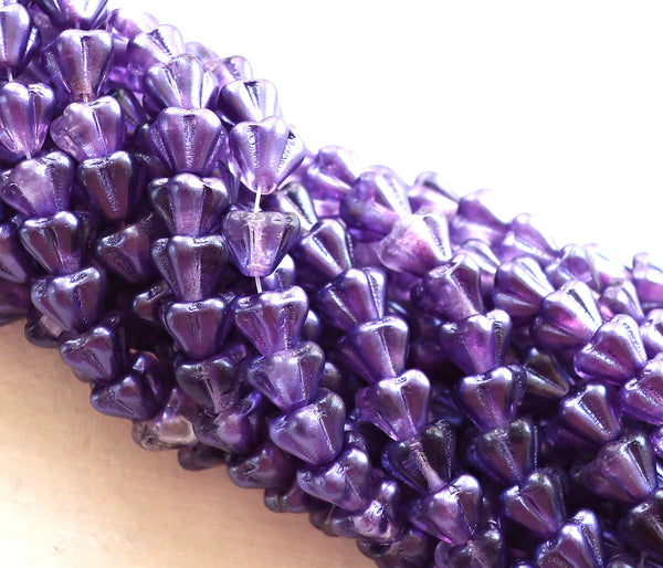 Lot of 25 8mm x 6mm Purple Salvia Bell Flower Czech glass beads, Tanzanite pressed glass beads C3230
