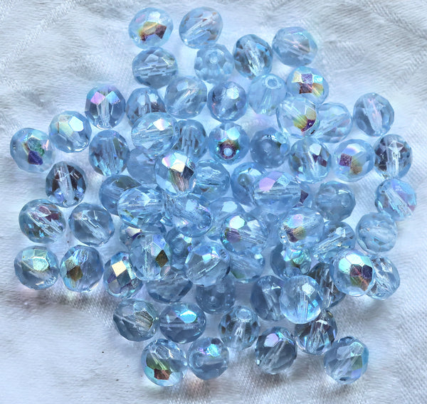 25 8mm Czech glass beads, Extra Light Blue Sapphire AB, firepolished faceted round beads C5625 - Glorious Glass Beads