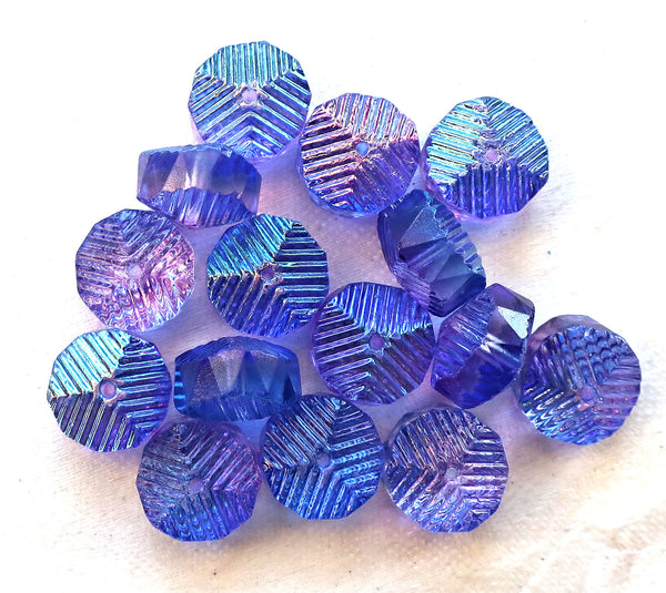 Lot of 6 Czech glass faceted wavy rondelle beads, large 14 x 6mm blue & purple chunky rondelles, focal beads C38101 - Glorious Glass Beads