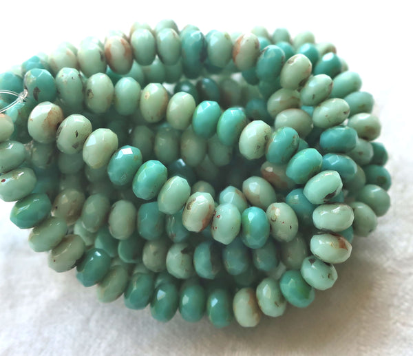 30 small puffy rondelle beads, turquoise blue green mix with a picasso finish, 3mm x 5mm faceted Czech glass rondelles 53101 - Glorious Glass Beads