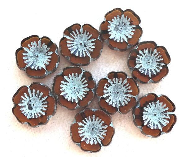 Five 14mm table cut, carved, transparent dark brown, smokey topaz & blue picasso, Czech glass hibiscus Hawaiian flower beads, C05105 - Glorious Glass Beads