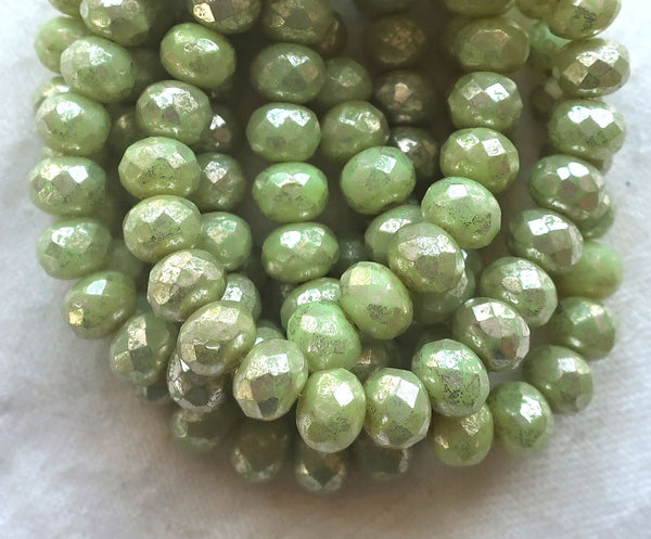 Lot of 25 Czech glass faceted puffy rondelle beads, opaque light honeydew Green with a silver mercury finish, donut beads, 5 x 7mm C00201 - Glorious Glass Beads