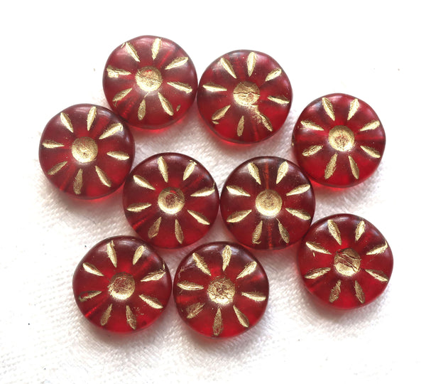 Ten 12mm Czech glass flower beads. round, table cut, carved, light garnet, ruby red daisy, coin, disc or wheel beads w/ gold accents C9901