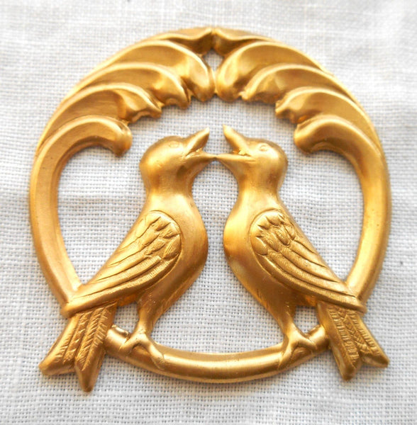 Raw brass stamping, two perched love birds, charm, pendant, connector,  37mm in diameter, made in the USA C4801 - Glorious Glass Beads