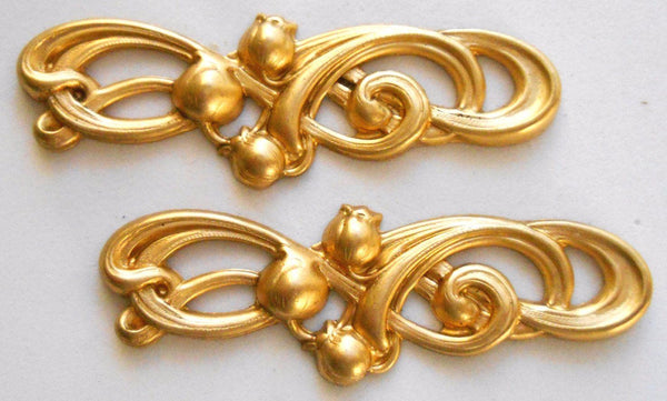 Two large raw brass art nouveau openwork Lily of the Valley connectors, brass stampings, 56 x 18mm, made in the USA C4501