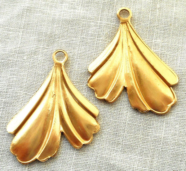 Two raw brass leaf stampings, art nouveau, deco, retro, stylized Ginko leaves, pendants, charms, earrings 32mm in by 25mm, USA made, 3802 - Glorious Glass Beads