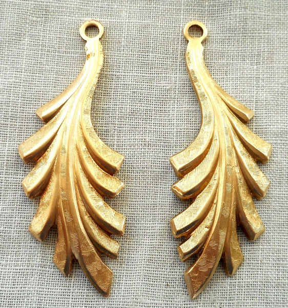Two raw brass leaf stampings, art nouveau, pendants, charms, earrings 45mm by 16mm, USA made, 5702 - Glorious Glass Beads