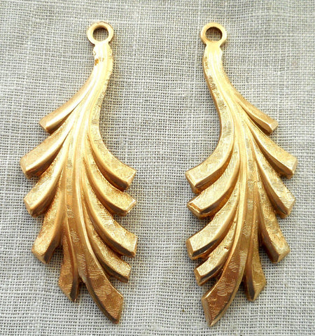 Accessories - Two Raw Brass Leaf Stampings, Art Nouveau, Pendants, Charms, Earrings 45mm By 16mm, USA Made, 5702