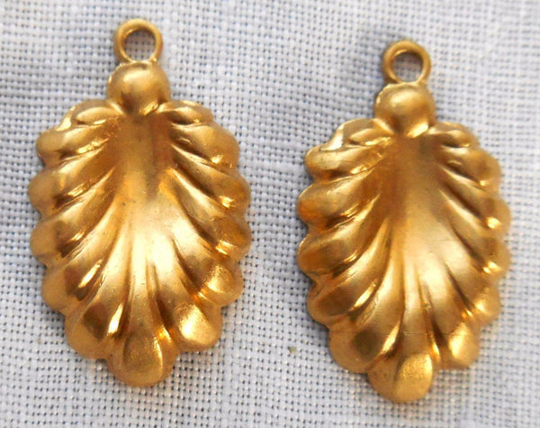 Two Raw Brass Stampings, Victorian dangles, charms, earrings 19mm x 12mm, made in the USA, C3602