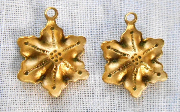 Accessories - Two Raw Brass Stampings, Victorian Flower Dangles, Charms, Earrings 17mm X 15mm, Made In The USA, C7702