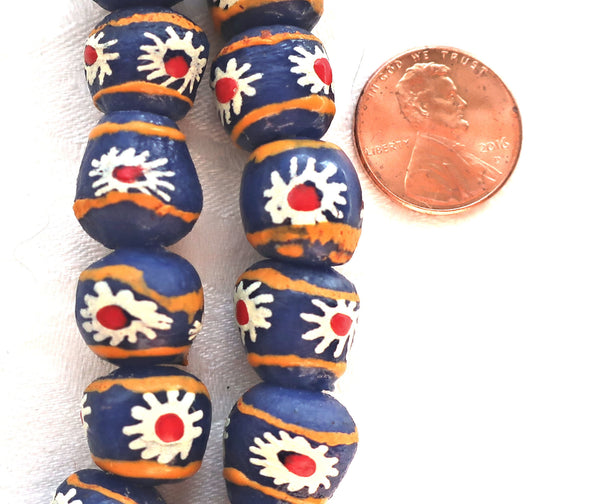 Lot of 5 African Krobo round glass flower beads, blue, white, red & orange, 11-13mm, big 2mm hole rustic, earthy beads - Glorious Glass Beads