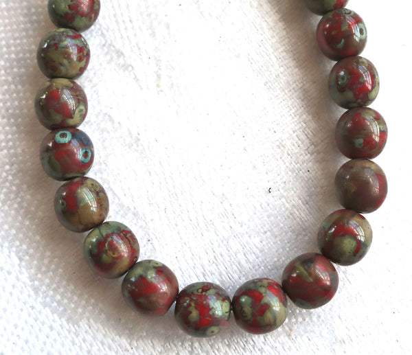 25 6mm Czech glass red picasso druk beads, earth tones , opaque red beads with a full picasso coat, smooth round druks C0725