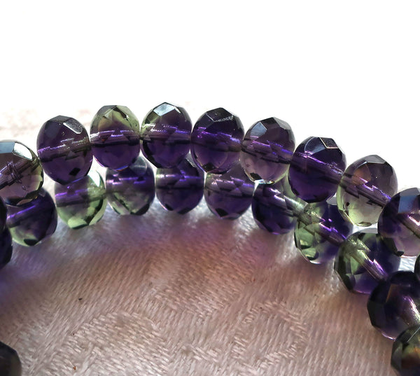 25 6 x 9mm Czech glass puffy rondelles, multicolored mix of transparent purple & green faceted puffy rondelle beads, C76225 - Glorious Glass Beads