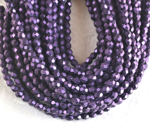 Lot of 50 4mm purple matte metallic suede, sueded Czech glass beads, faceted, firepolished beads 9601