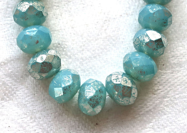25 Czech glass faceted puffy rondelle beads, milky light aqua blue with a silver mercury finish, 6 x 8mm rondelles 008201