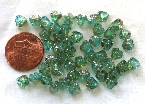 Lot of 50 6mm x 4mm Aquamarine Celsian baby Bell Flower Czech glass beads, blue green pressed glass beads with gold accents 60101