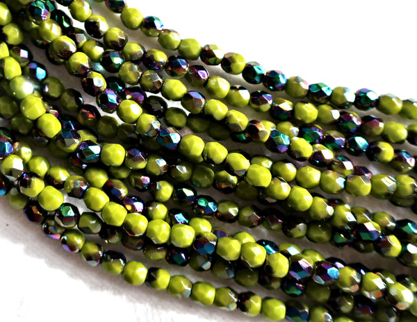 Lot of 50 4mm Opaque Olive Vitral Czech glass beads, olive green firepolished, faceted round beads with a vitral finish, C5625