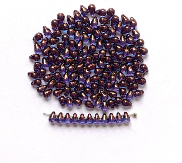 Fifty Czech glass teardrop beads - 6 x 4mm vega purple luster or lumi amethyst drop or pear beads - C0044