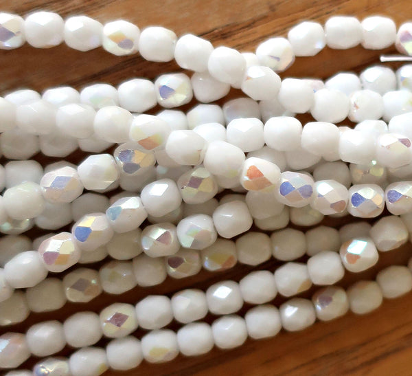 Lot of 50 4mm Czech Opaque Chalk White AB glass beads, firepolished round faceted beads 6901