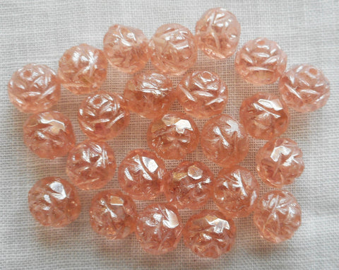 Twelve Luster Rosaline Pink 7 x 8mm Rosebud beads, faceted, firepolished, antique cut, Czech glass beads C2701 - Glorious Glass Beads