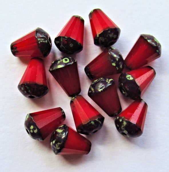 Lot of 15 8 x 6mm Czech glass teardrop beads - opaque red opal picasso - special cut, faceted, firepolished beads C07101