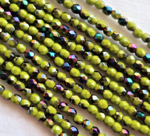 Lot of 50 3mm Opaque Olive Vitral Czech glass beads, olive green firepolished, faceted round beads with a vitral finish, C5525 - Glorious Glass Beads