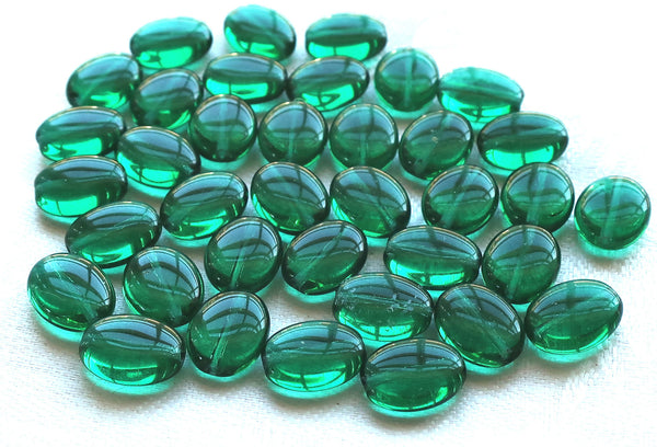 25 Teal Green flat oval Czech Glass beads, 12mm x 9mm pressed glass beads C7425